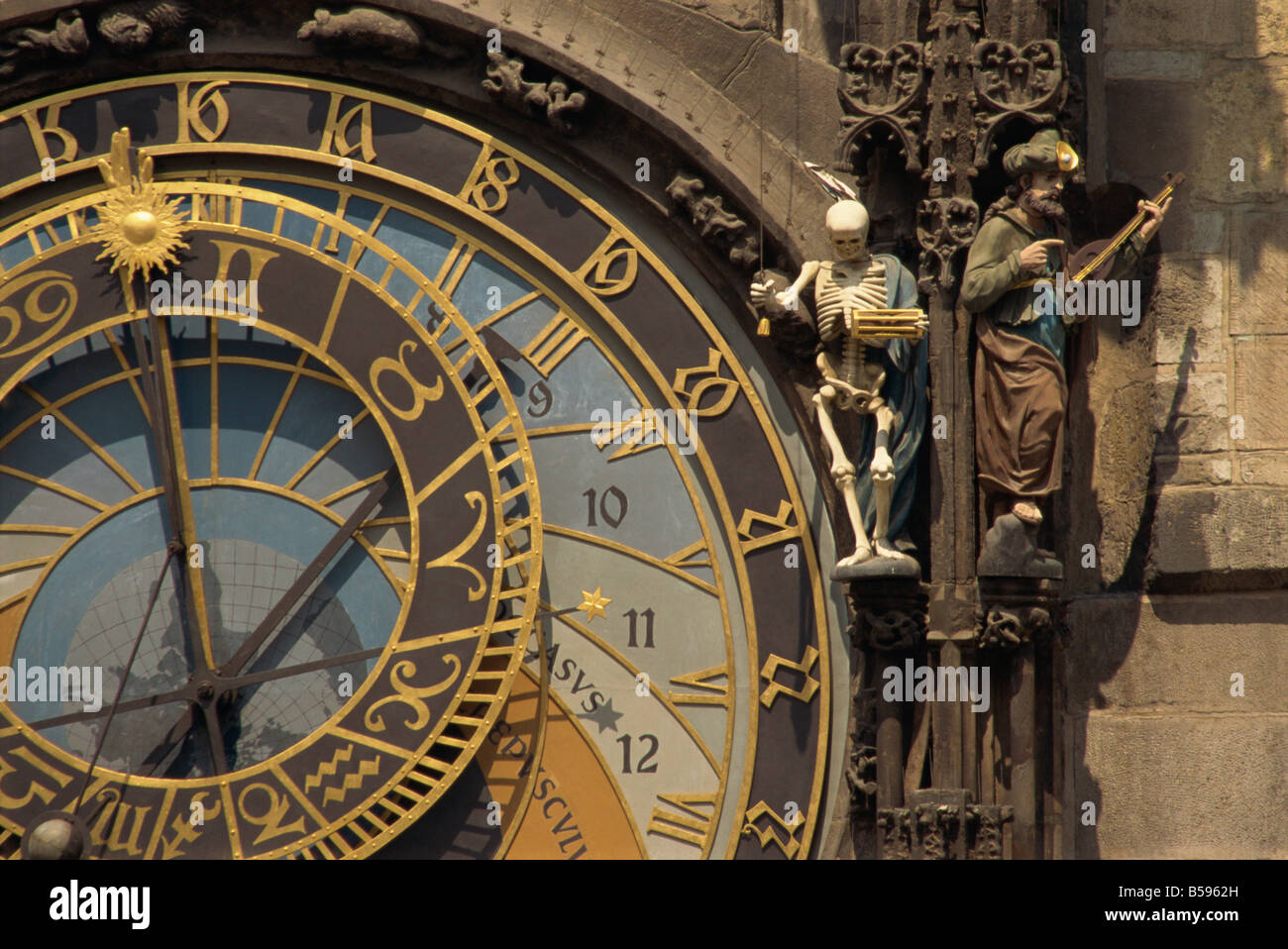 The Gothic Horloge on the Old Town Hall on the Stare Mesto Square in Prague Czech Republic G Hellier - Stock Image