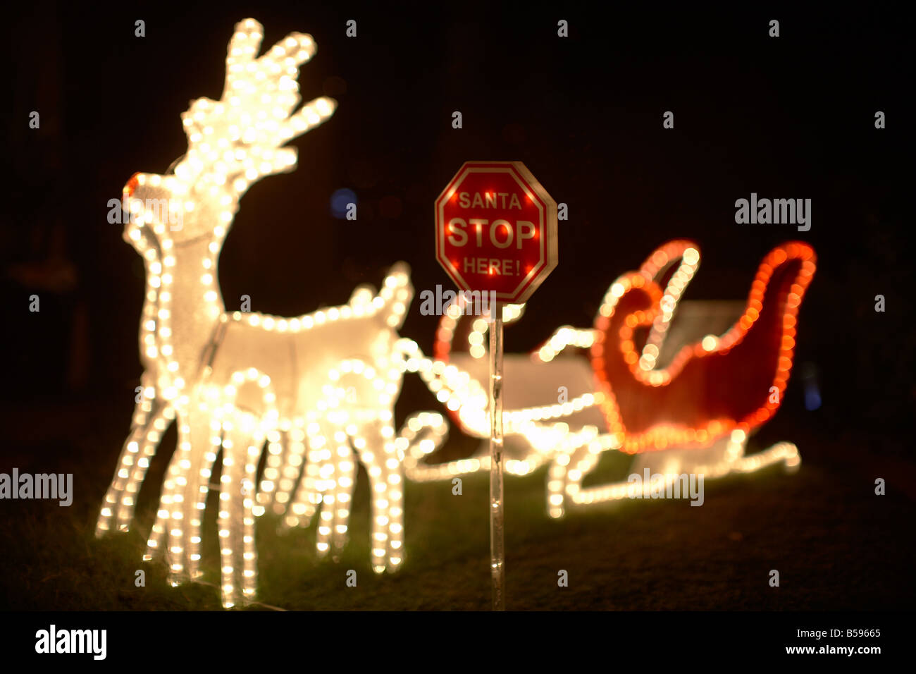 Illuminated christmas light decorations with Santa Stop sign sleigh and reindeer outside a house in Queensland QLD - Stock Image