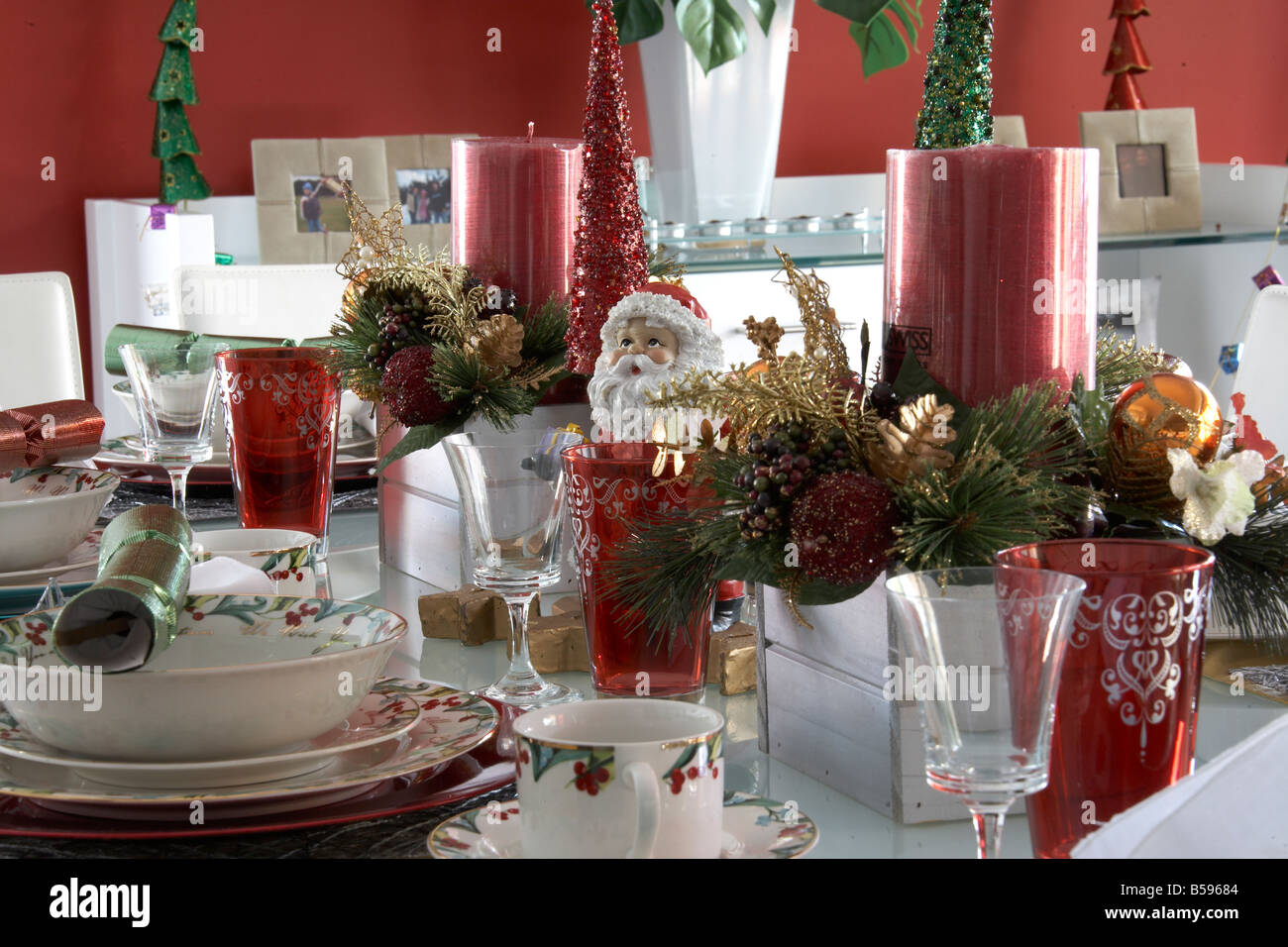 table laid with christmas decorations tableware and ornaments in brisbane queensland qld australia stock image
