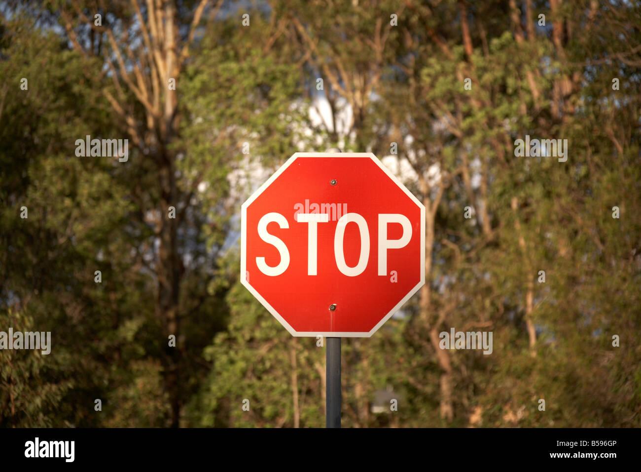 Stop sign in Queensland QLD Australia - Stock Image