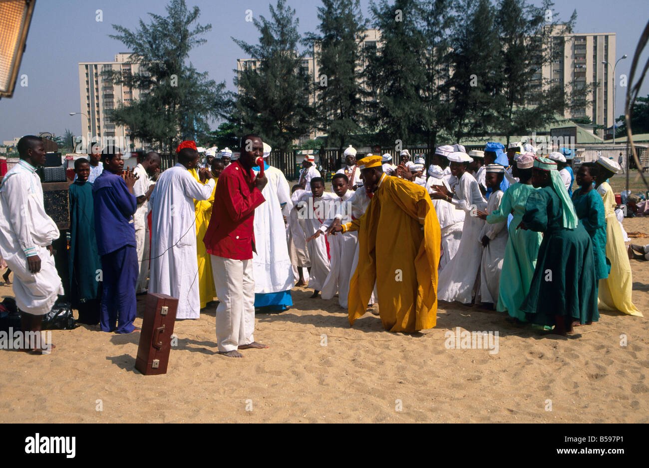 Christians worshipping on the sand at the beach in Lagos Nigeria Africa - Stock Image