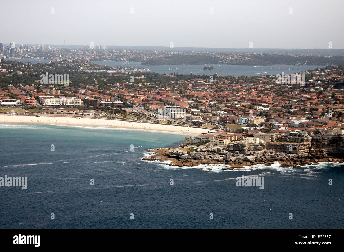 Aerial view north west of Ben Buckler and suburban houses Bondi Bay Sydney NSW Australia High level oblique Stock Photo
