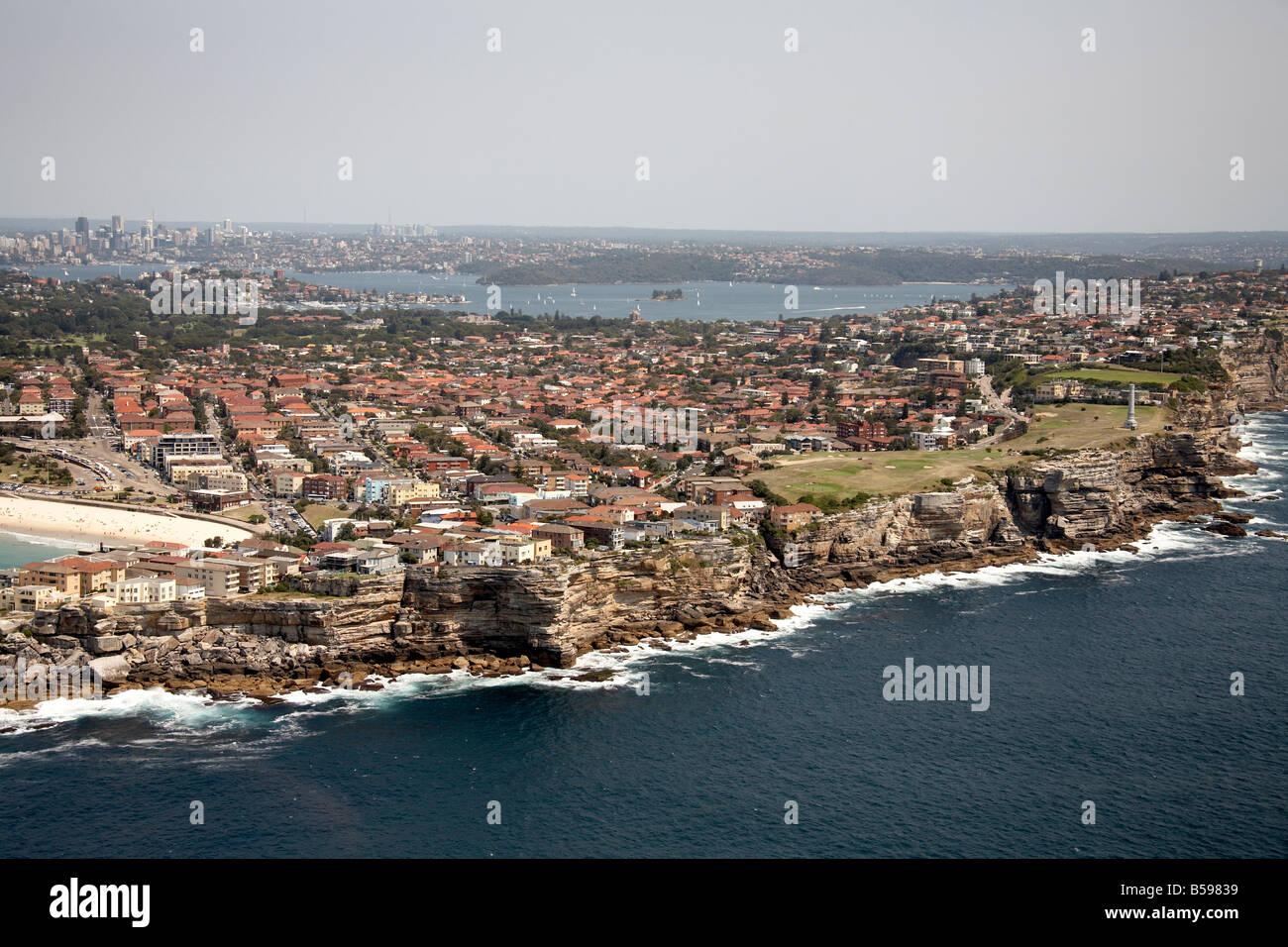 Aerial view north west of suburban houses Ben Buckler Bondi Sydney NSW Australia High level oblique Stock Photo