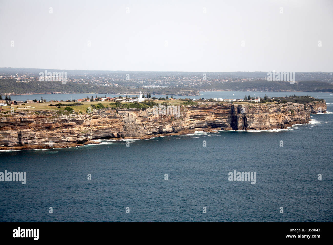 Aerial view west of lighthouse Gap Park Watsons Bay Sydney NSW Australia High level oblique - Stock Image