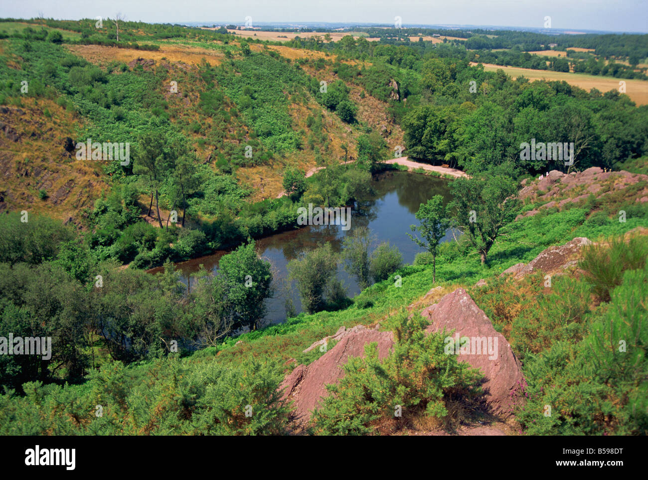 View over Le Val sans Retour Broceliande in the Paimpont Forest Brittany France N Boyd - Stock Image