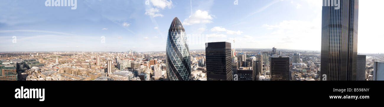 High level panoramic panorama view from London Wall of City of London EC1 EC2 England UK - Stock Image