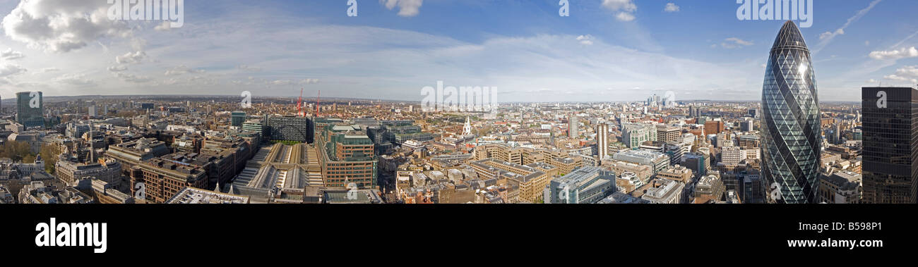 High level panoramic panorama view from London Wall of City of London England UK - Stock Image