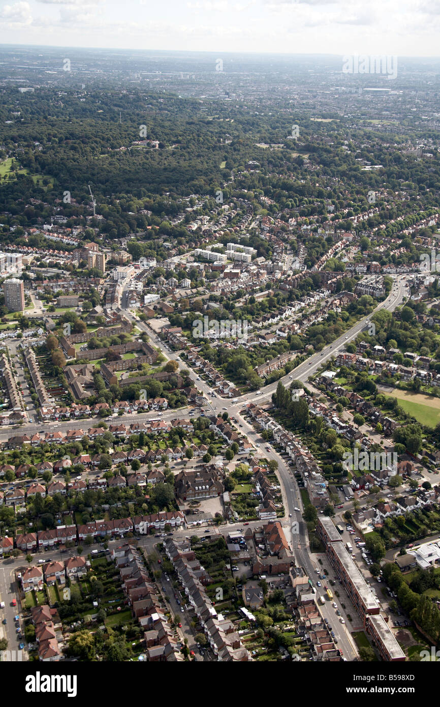 Aerial view south east of suburban houses trees sports ground Hendon Way Cricklewood Lane Hampstead Heath London - Stock Image