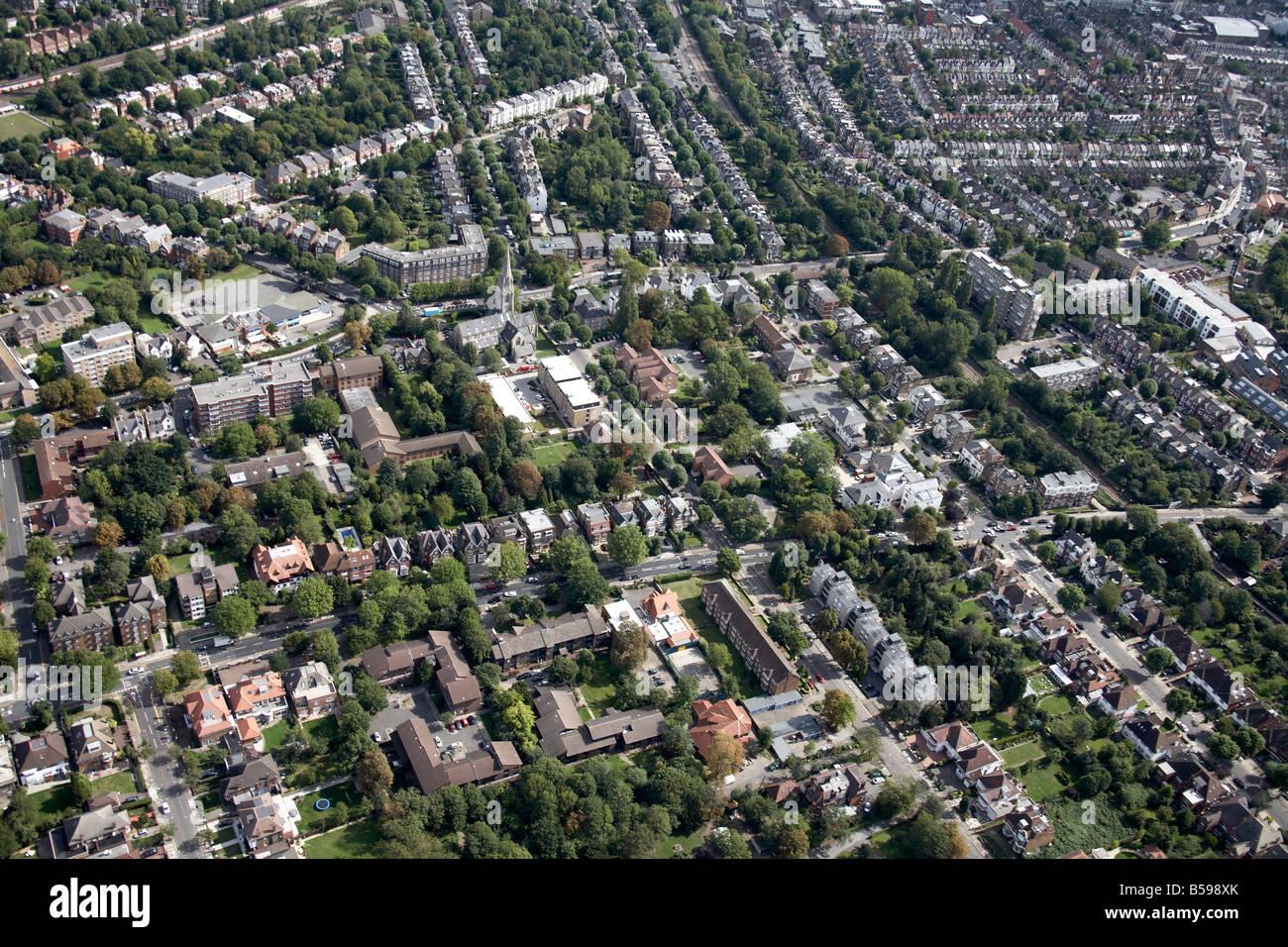 Aerial view north east of suburban houses gardens trees Christ Church Willesden Lane Salusbury Road Brondesbury - Stock Image