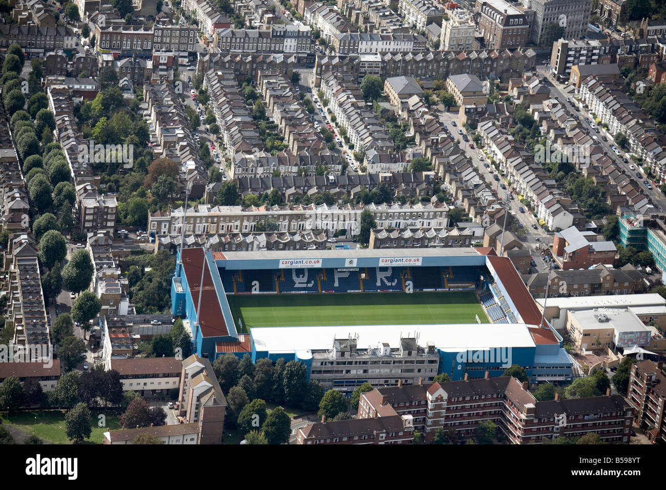 Aerial view south west of Queens Park Rangers Football Club Hammersmith Park suburban houses Shepherd s Bush London - Stock Image