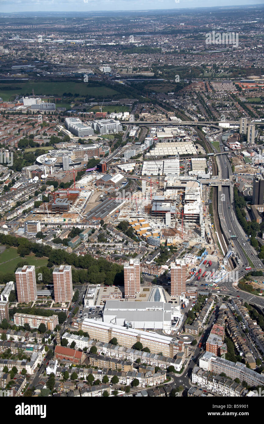Aerial view north of Westfield White City Construction Site BBC Television Centre Shepherd s Bush Common London - Stock Image