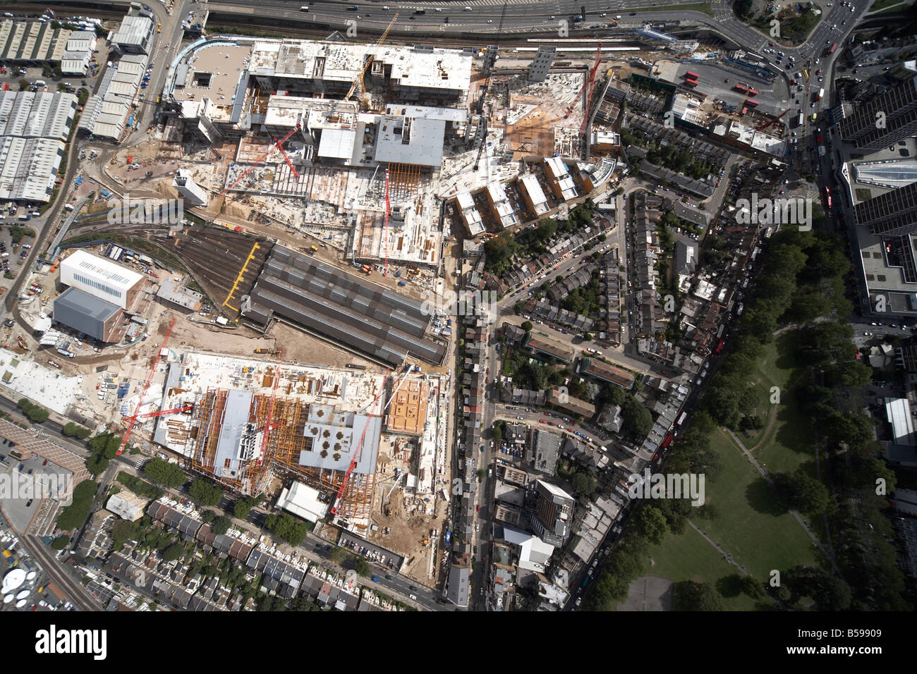 Aerial view north east of Westfield White City Construction Site West Cross Route Shepherds Bush Common London W12 - Stock Image