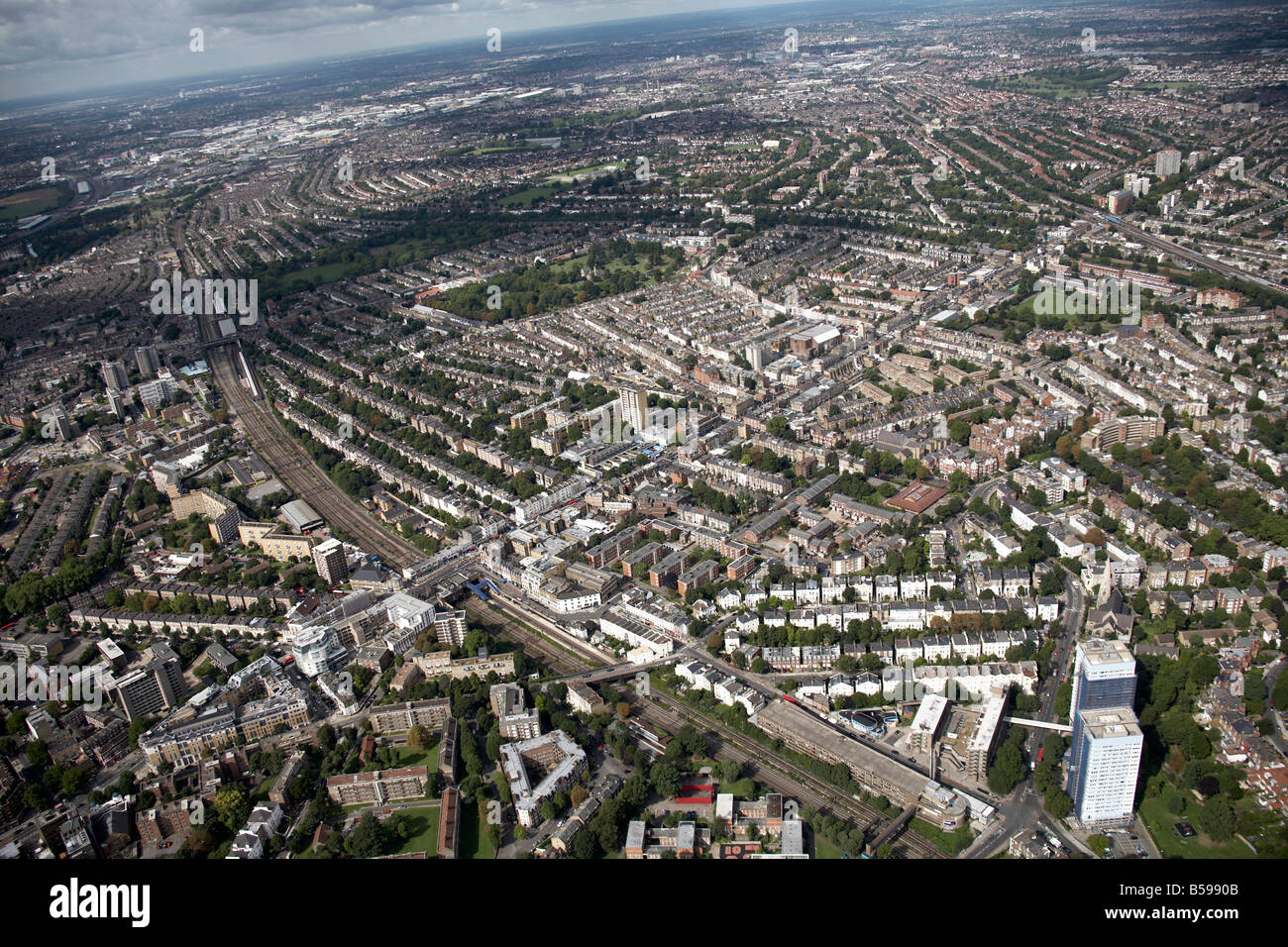 Aerial view north west of Kensal Rise and Kilburn Queens Park Willesden Lane Cemetery railway lines suburban houses - Stock Image