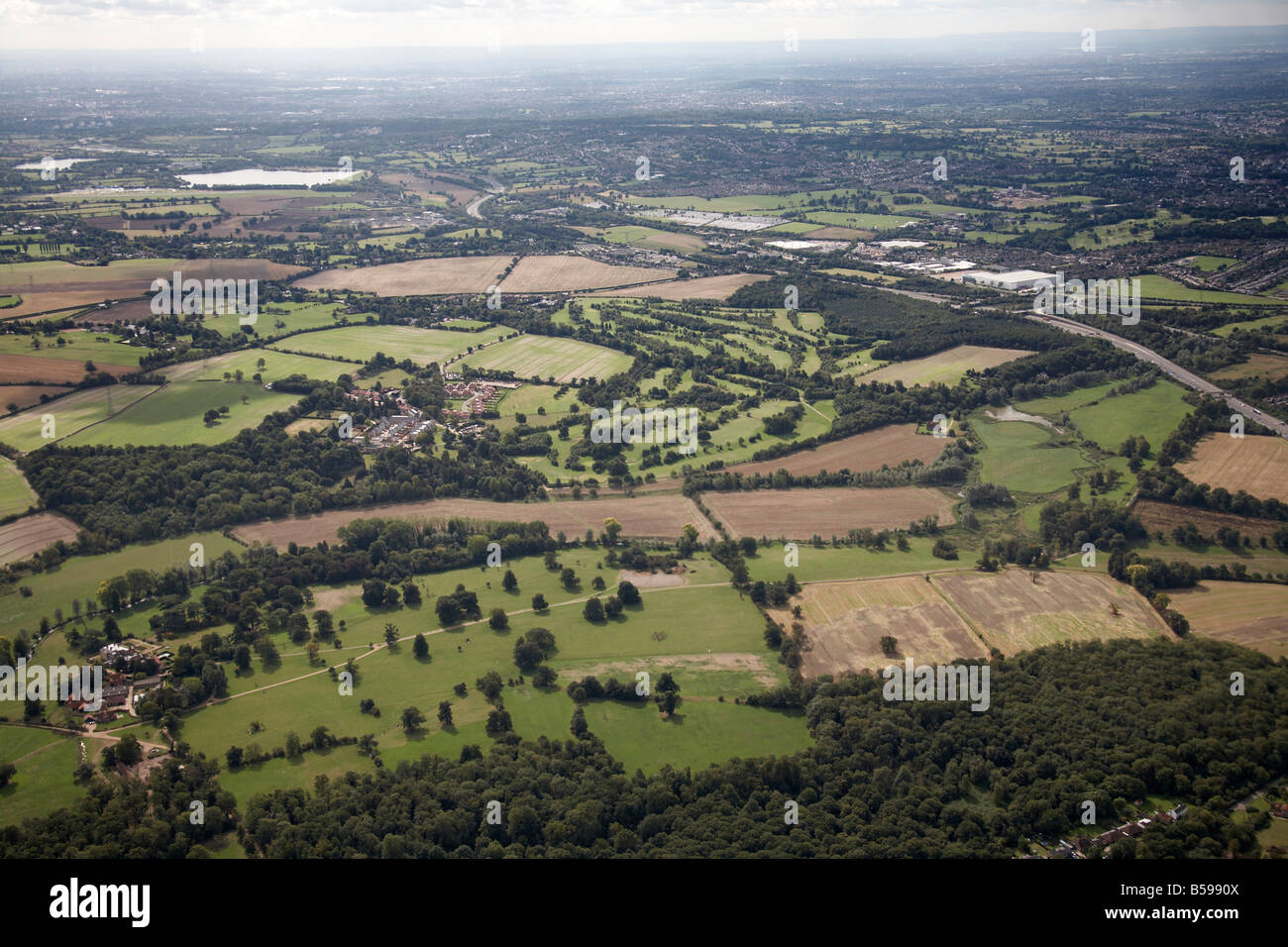 Aerial view south west of M1 Motorway country fields Aldenham Watford Hertsmere Greater London WD2 England UK High - Stock Image