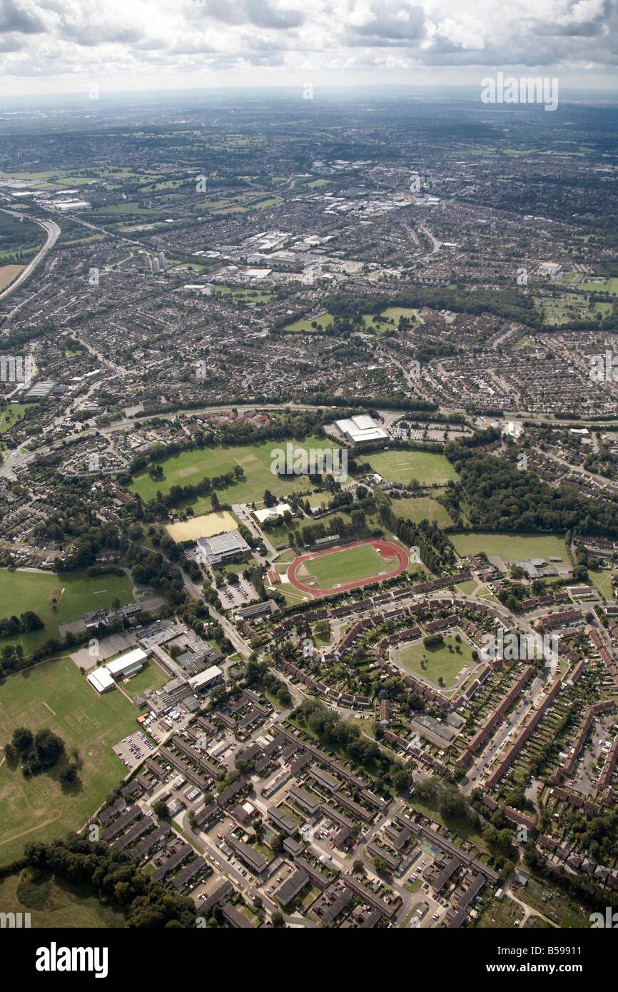 Aerial view south west of Woodside Arena Sports and Leisure Centre playing fields Kingsway North Orbital Road suburban - Stock Image