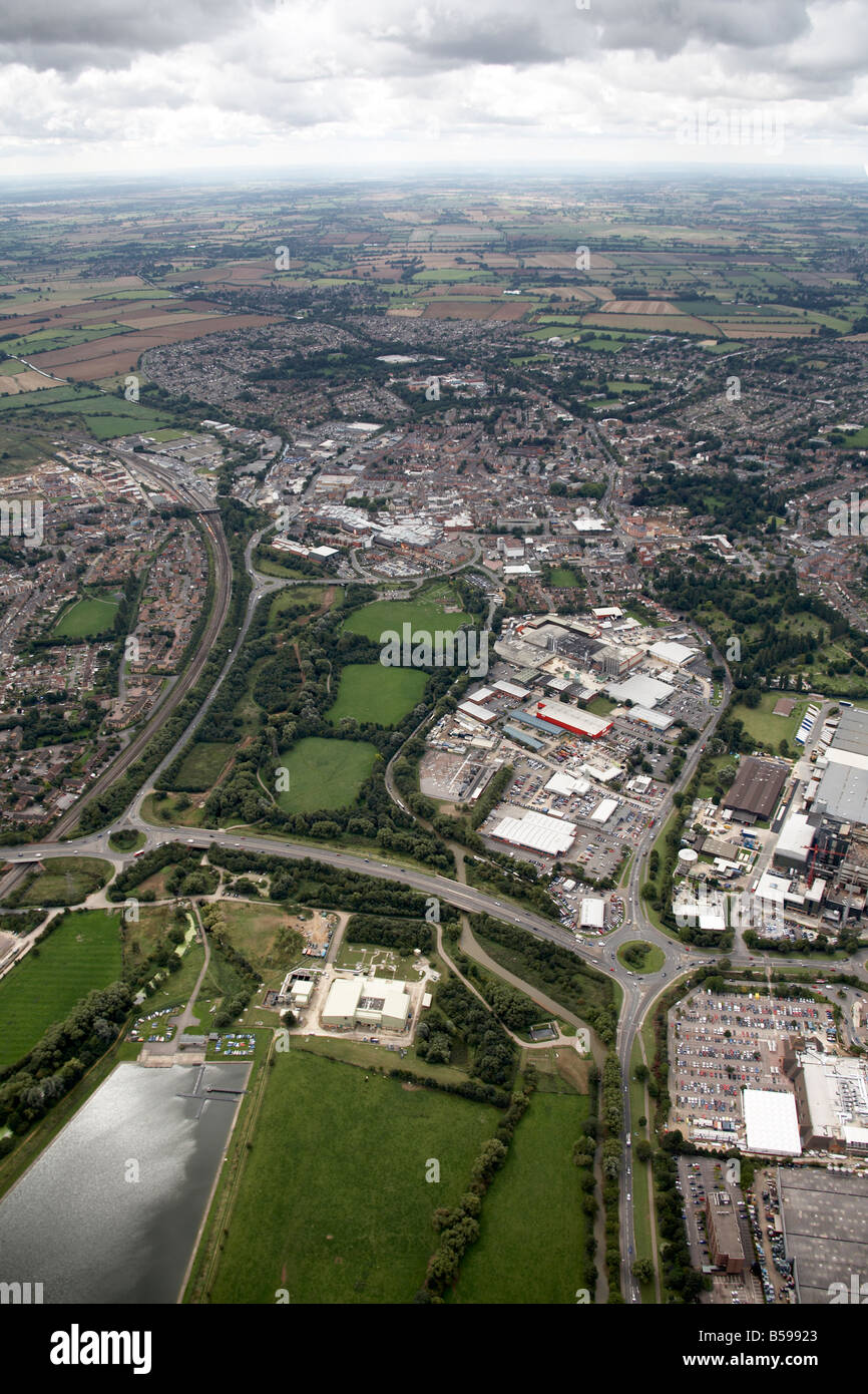 Aerial view south of Hennef Way A422 Southam Rd A361 Spiceball Country Park trading estates suburban houses Banbury - Stock Image