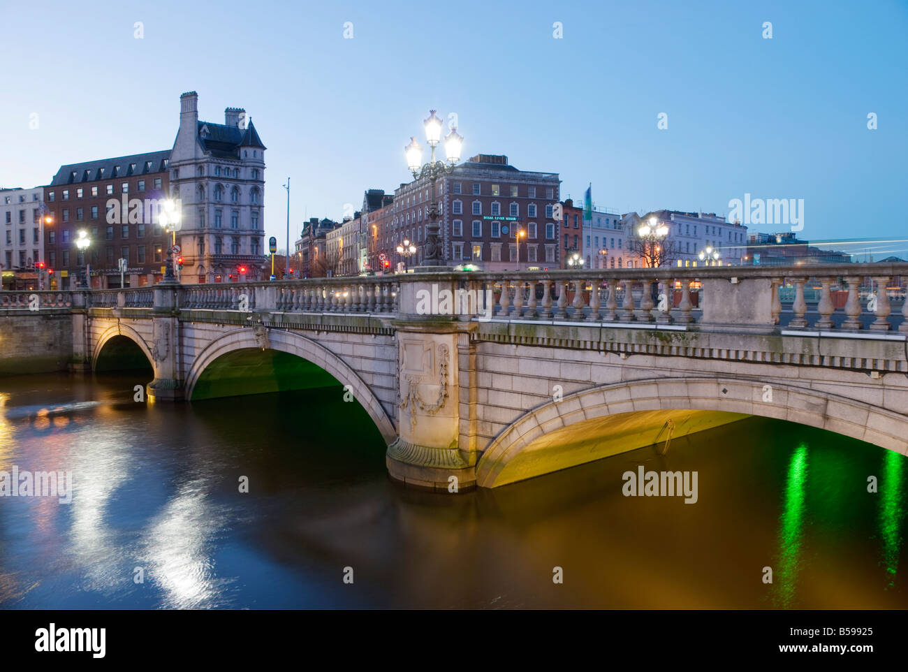 Dawn at O Connell Bridge looking south towards Westmoreland Street Dublin Ireland - Stock Image