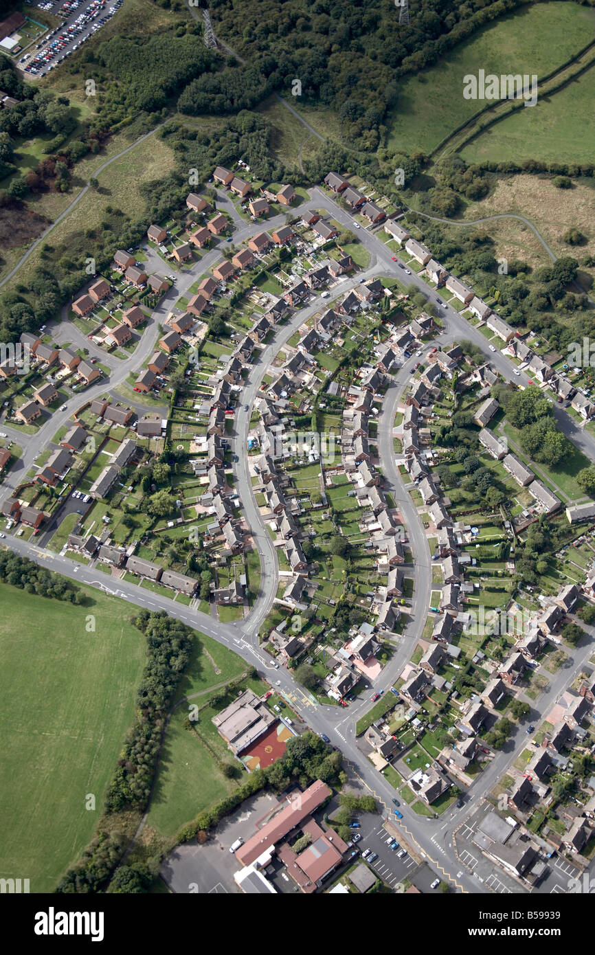 Aerial view south west of suburban housing estate country fields playing fields Merryfield Road Overfield Road Dudley - Stock Image