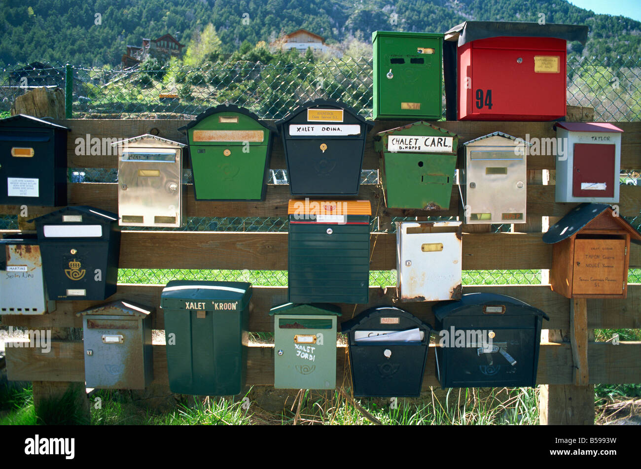 Post boxes, La Malana district, Andorra, Europe - Stock Image