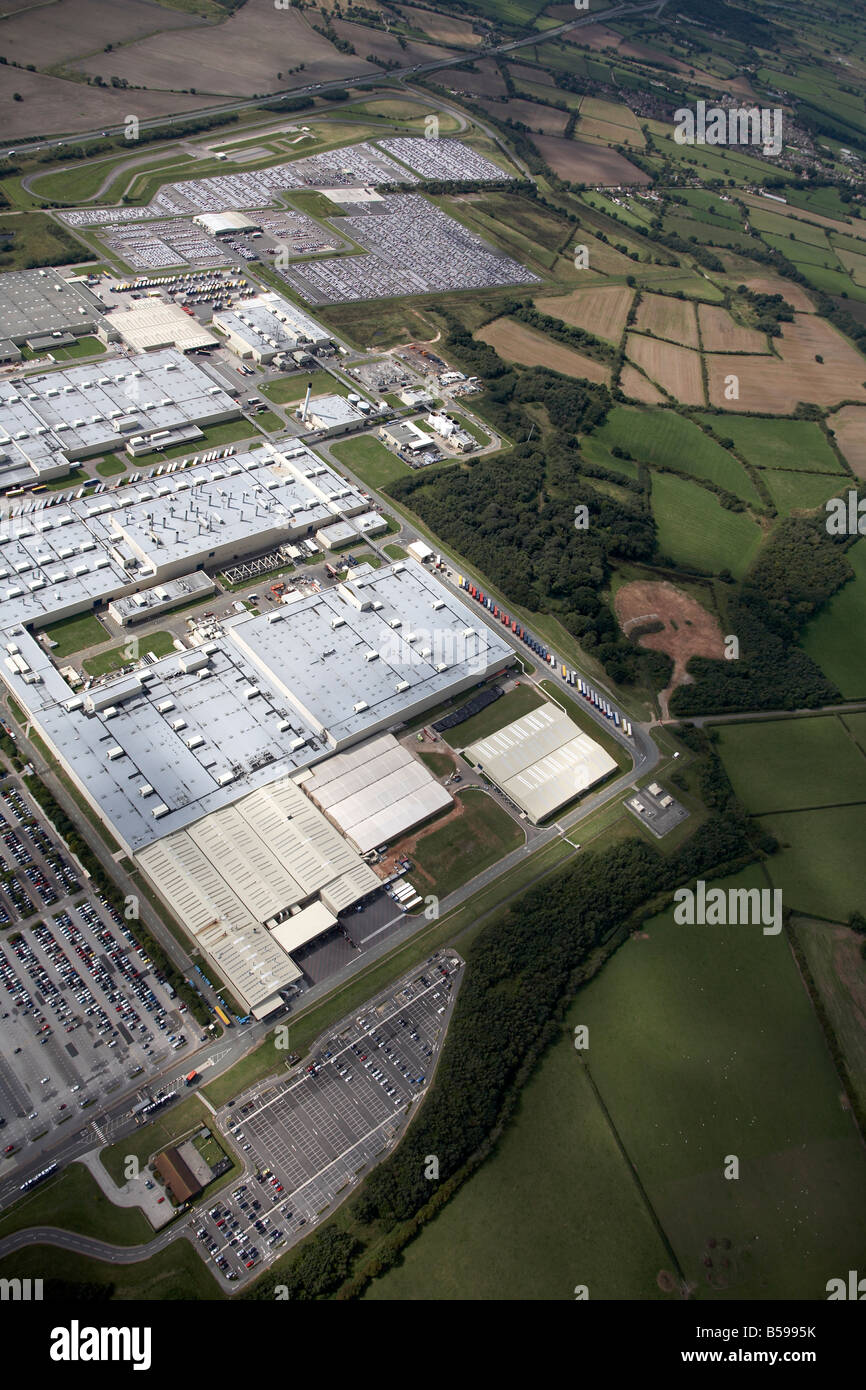 Aerial view west of the Toyota Manufacturing UK Site country fields Burnaston Derbyshire DE1 England UK High level - Stock Image