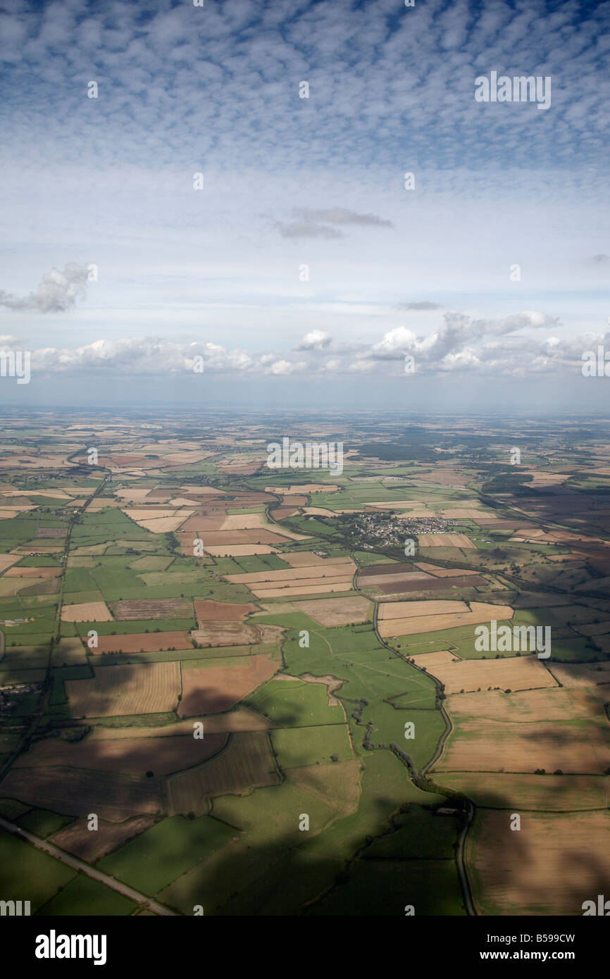 Aerial view north east of country fields East Northamptonshire England UK High level oblique - Stock Image
