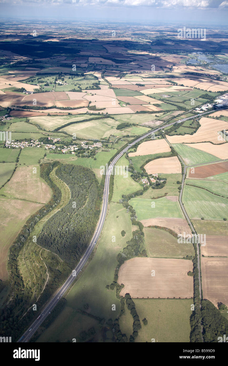 Aerial view north east of country fields A14 Road Kettering Road country fields Northamptonshire England UK High - Stock Image