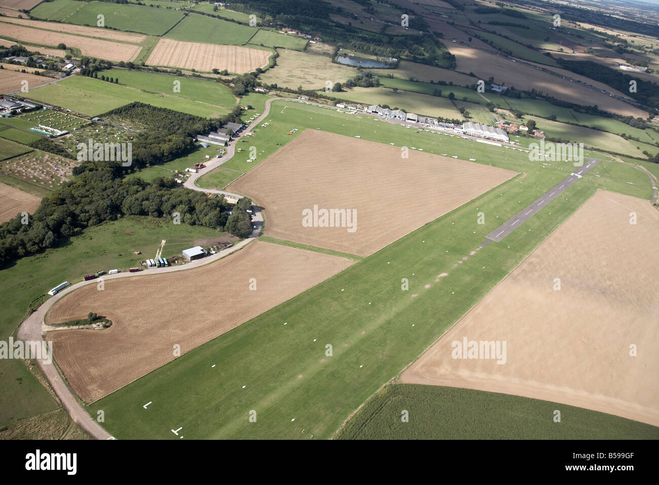 Aerial view north of Stapleford Tawney Aerodrome Ongar Road A113 country fields farms Romford Essex RM4 England - Stock Image