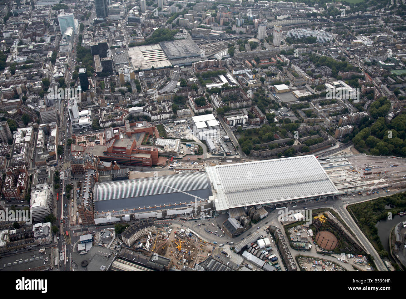 Aerial view south west of St Pancras Railway Station construction work The British Museum Euston Road inner city Stock Photo