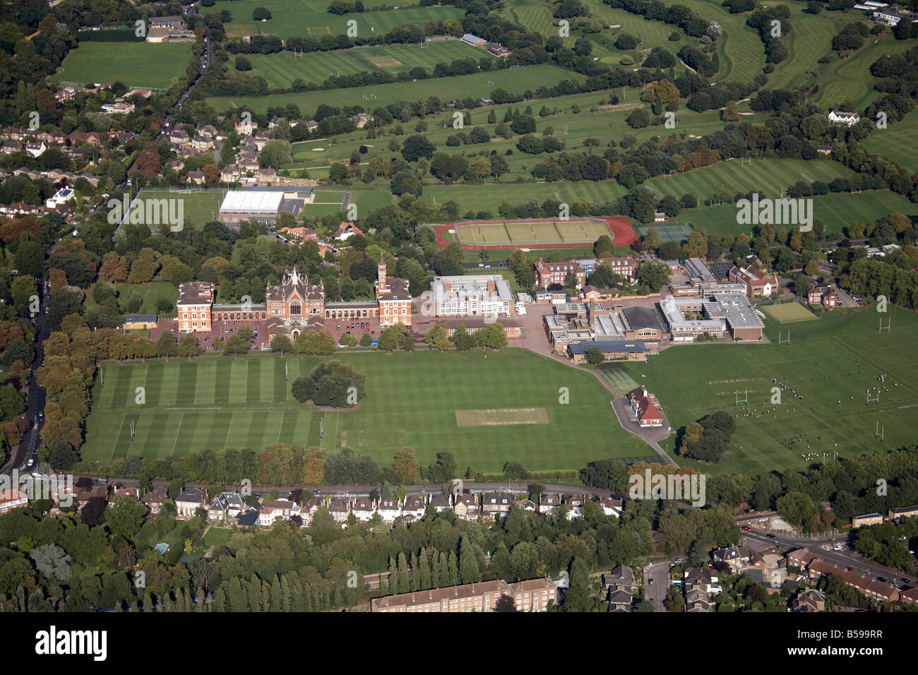 Aerial view north east of Dulwich College playing fields tennis courts Alleyn Park Road Dulwich Sydenham Hill Golf - Stock Image