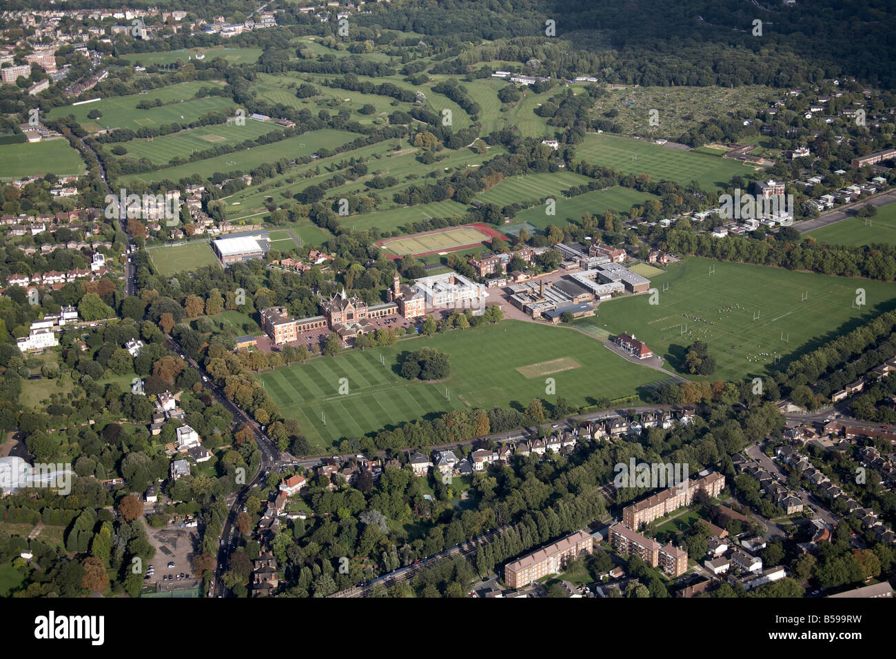 Aerial view south east of Dulwich College playing fields tennis courts Alleyn Park Road Dulwich Sydenham Hill Golf - Stock Image