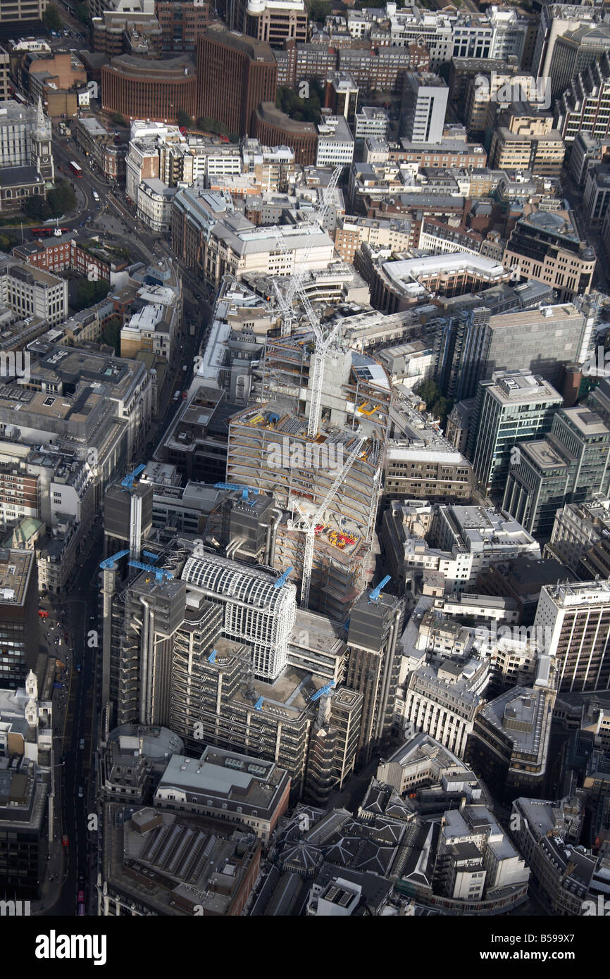 Aerial view south east of The Lloyds Building tower blocks construction work Leadenhall Street Aldgate The City Stock Photo