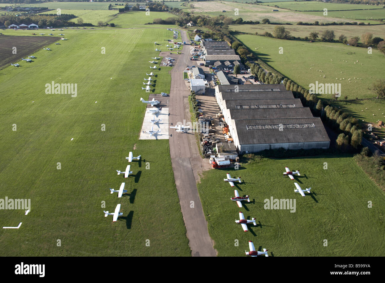 Aerial view north west of Stapleford Tawney Aerodrome aeroplanes Ongar Road country fields Romford Essex RM4 England - Stock Image