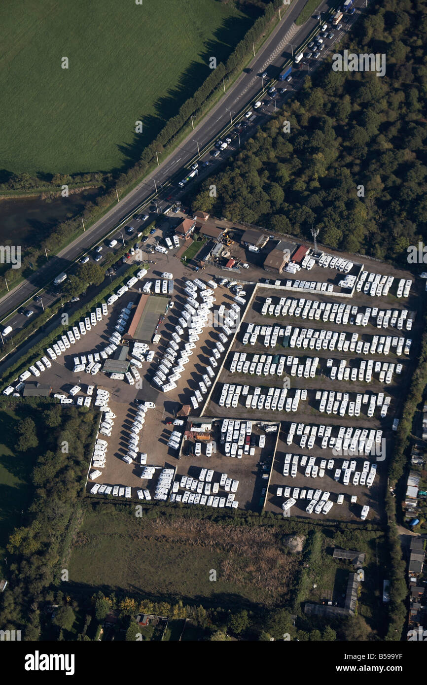 Aerial view north east of caravan park Southend Arterial Road A127 country fields Upminster Havering London RM14 - Stock Image