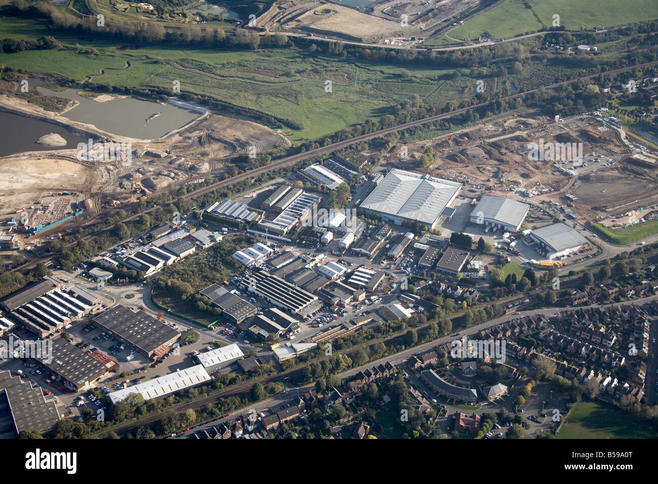 Aerial view south east of industrial estates construction site railway lines Frenches Road Reigate Surrey RH1 England - Stock Image