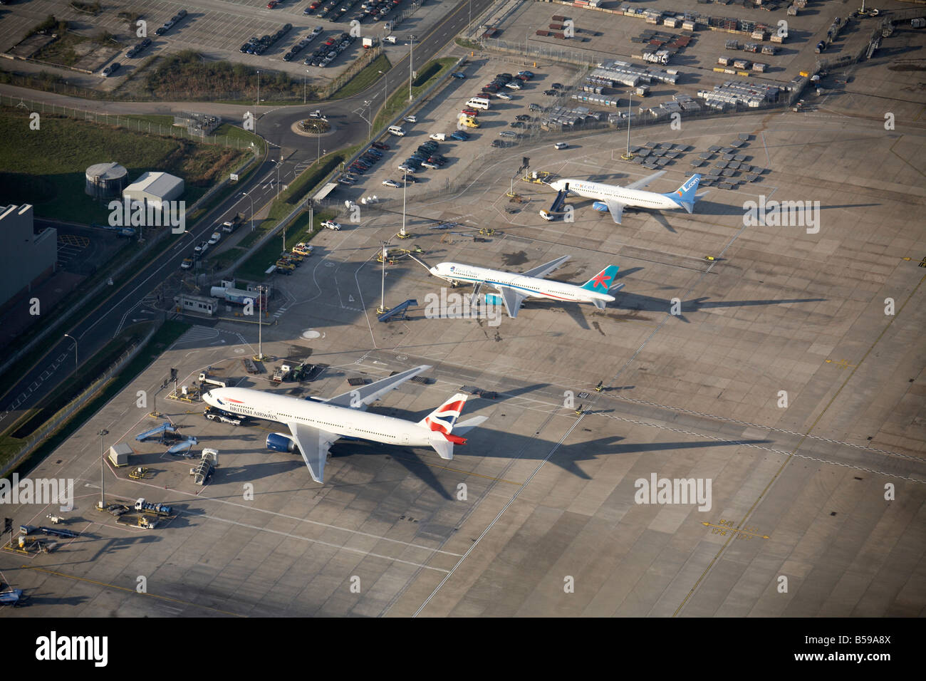 Aerial view London Gatwick Airport Larkins Road British Airways First Choice Excel Airways aeroplanes Crawley West Stock Photo