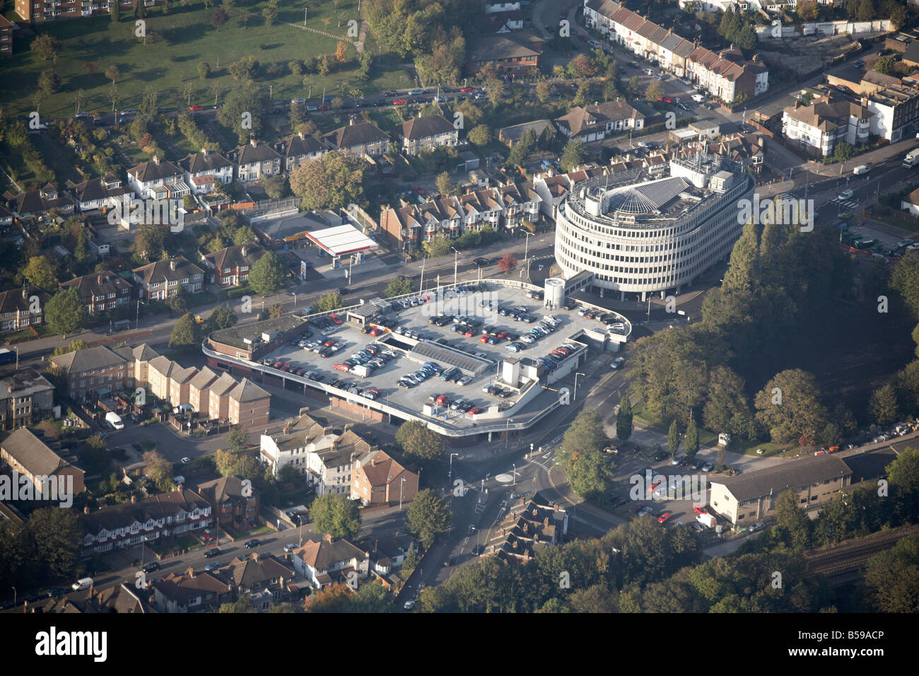 Aerial view north west of Royal Oak House car park Brighton Road A235 Riddlesdown Road suburban houses Croydon London - Stock Image