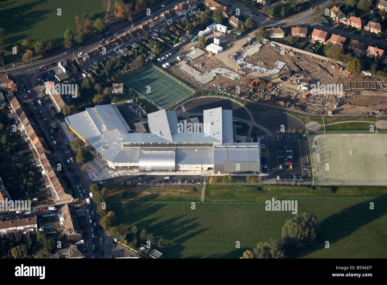 Aerial view north west of Ashburton Community School tennis courts Addiscombe Road Shirley Road construction work - Stock Image