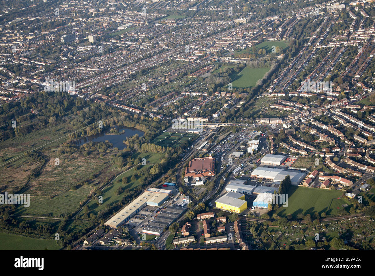 Aerial view north east of South Norwood Country Park recreation ground allotments suburban houses Elmers End Bromley - Stock Image