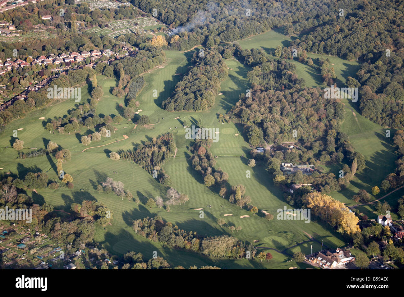 Aerial view north east of golf course allotments Sundridge Park Rockpit Wood Bromley Greater London BR1 England - Stock Image