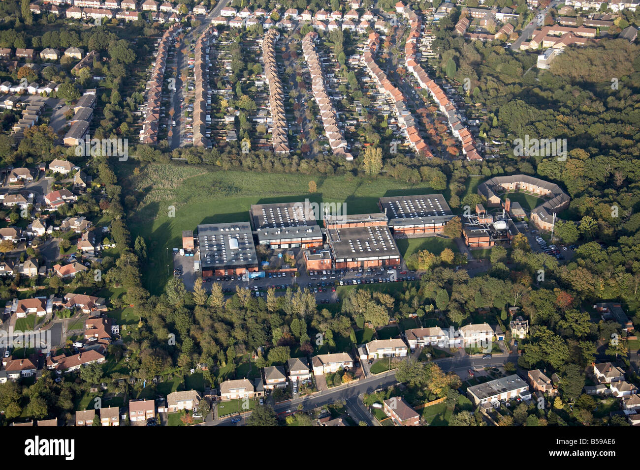 Aerial view north east of Ravensbourne College of Design and Comminication Walden Road suburban houses Bromley London - Stock Image