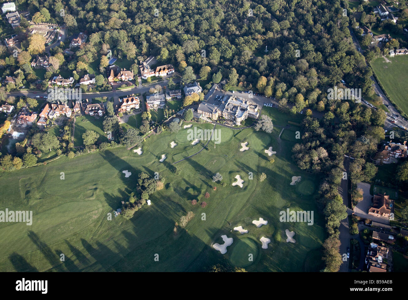 Aerial view east of Chiselhurst Golf Club Club House Wilderness Road suburban houses Bromley Greater London BR7 - Stock Image