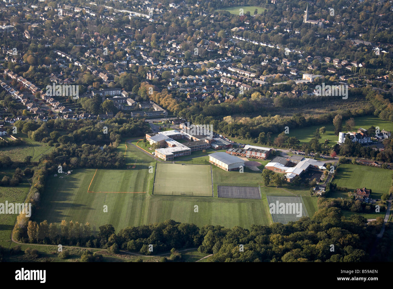Aerial view north west of Bromley High School playing fields tennis courts Thornet Wood Bromley Greater London BR1 - Stock Image