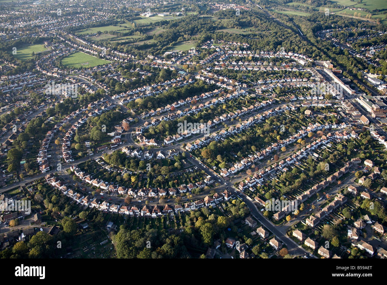 Aerial view north west of suburban houses Diameter Road Chesham Avenue Crest View Drive playing fields Bromley London - Stock Image