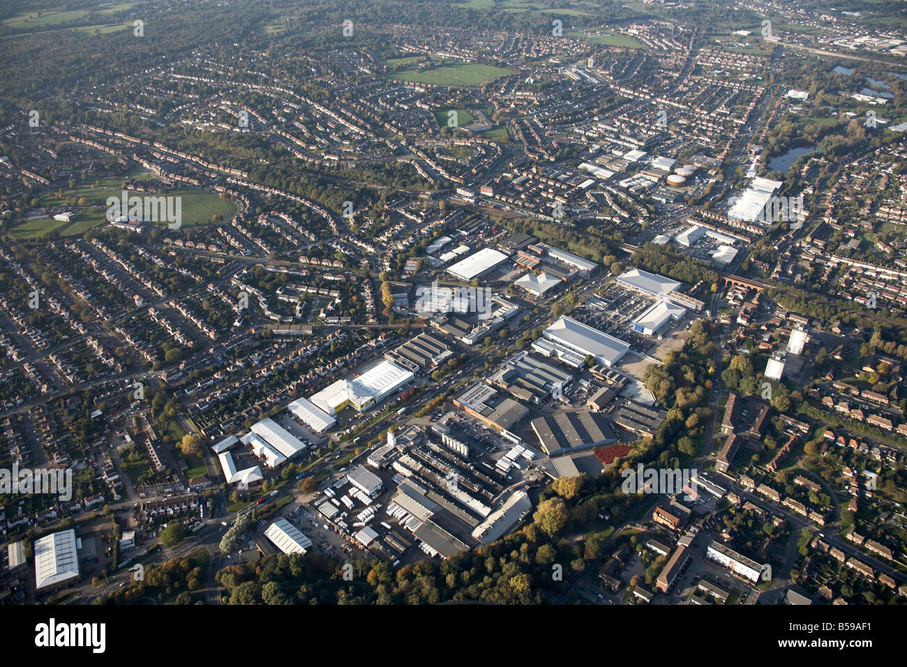 Aerial view north west of Nugent Industrial Park Ravensquay Business Centre suburban houses playing fields St Mary - Stock Image
