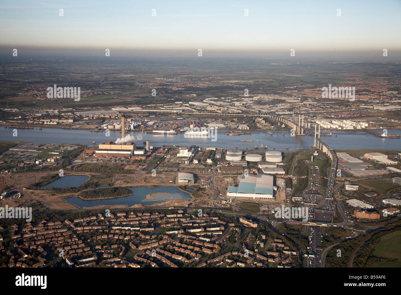 Aerial view north east of River Thames Littlebrook Business Centre power station gas works Queen Elizabeth II Bridge - Stock Image