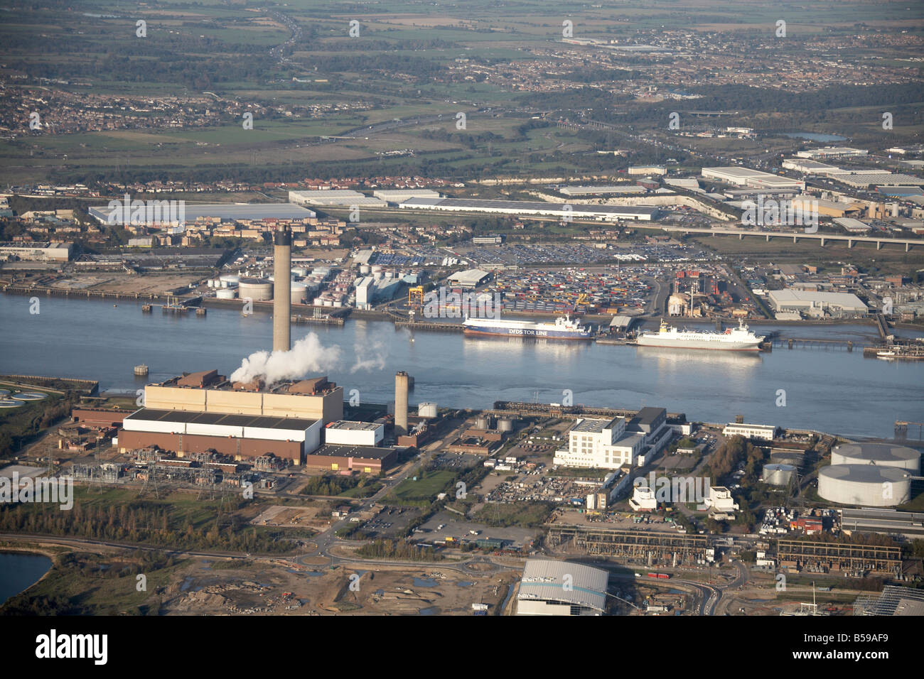 Aerial view north east of River Thames Littlebrook Business Centre power station gas works Purfleet Deep Wharf London - Stock Image