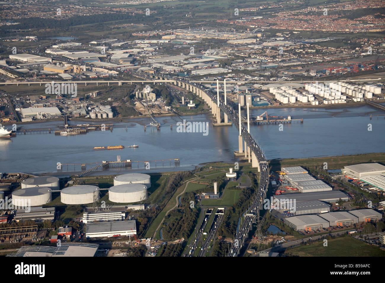 Aerial view north east of gas works Queen Elizabeth II Bridge warehouses River Thames Purfleet Deep Wharf London - Stock Image