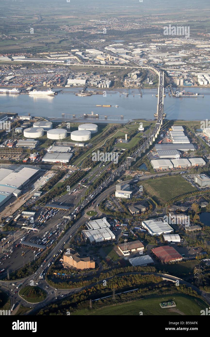 Aerial view north east of River Thames gas works Queen Elizabeth II Bridge Crossway 25 Business Park Crossways Boulevard - Stock Image