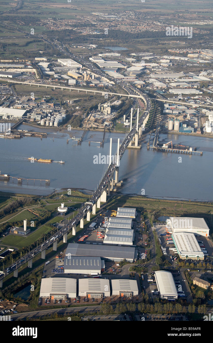 Aerial view north east of River Thames Queen Elizabeth II Bridge Stone Marshes Warehouses Purfleet Deep Wharf London - Stock Image