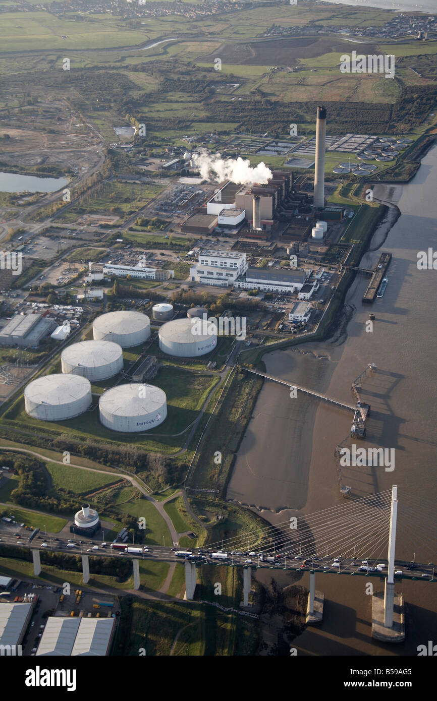 Aerial view north west Littlebrook Business Centre power station gas works River Thames Queen Elizabeth II Bridge - Stock Image